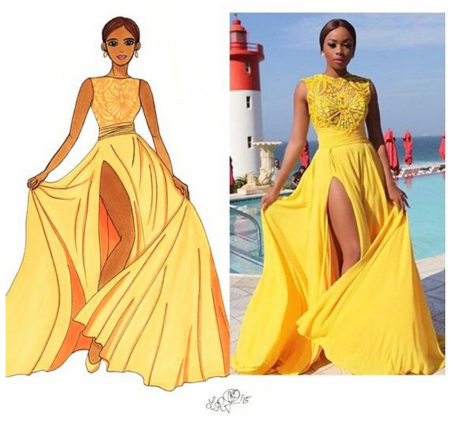 Bonang Matheba_South Africa_Fashion_Durban July Vodacom Horserace 2015_Lilly Rose Illustration