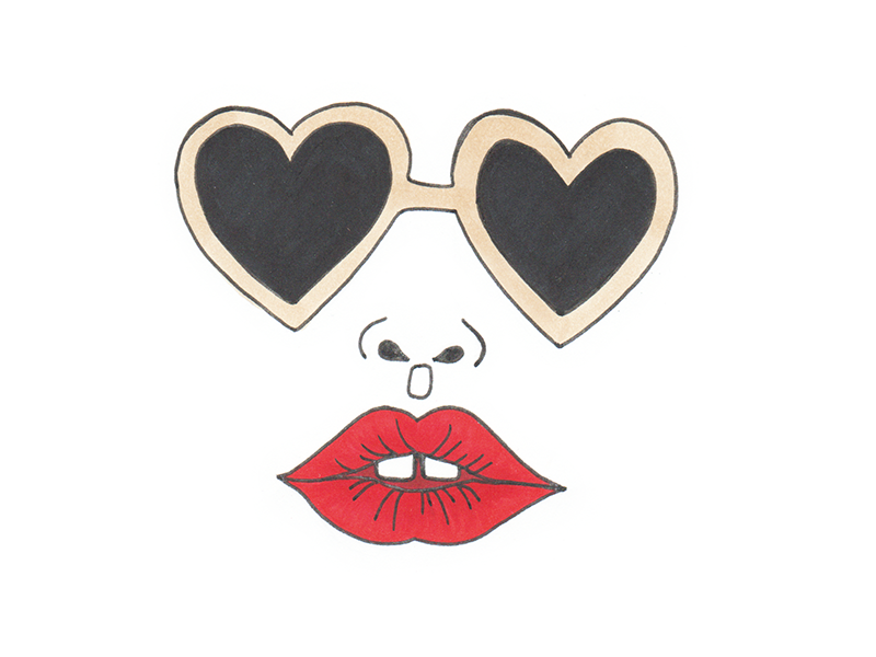 Fashion sun glasses red lips fashionista