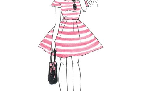 pink monochrome fashionista portrait
