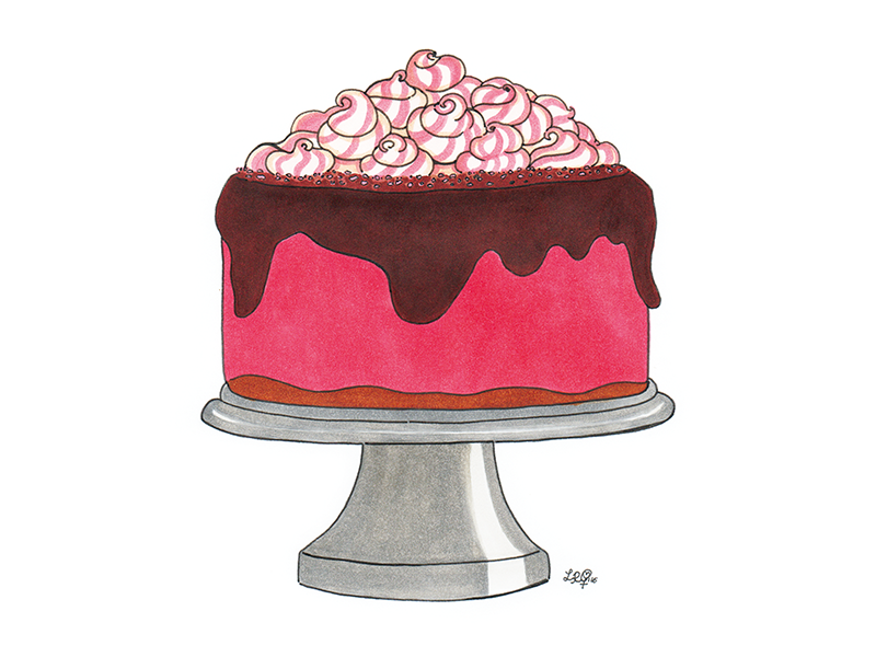 pink cake design illustration
